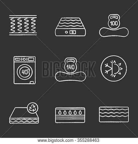 Mattress Chalk Icons Set. Spring, Air, Machine Washable, Dual Season, Recyclable, Water, Memory Foam