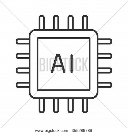 Ai Processor Linear Icon. Microprocessor For Artificial Intelligence System. Thin Line Illustration.
