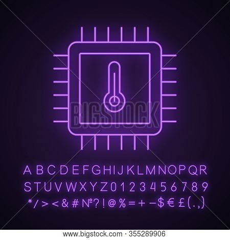 Processor Temperature Neon Light Icon. Core Temp. Cpu Overheating. Chip, Microchip, Chipset. Heating