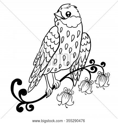 Contour Drawing Of A Stylized Cute Sparrow