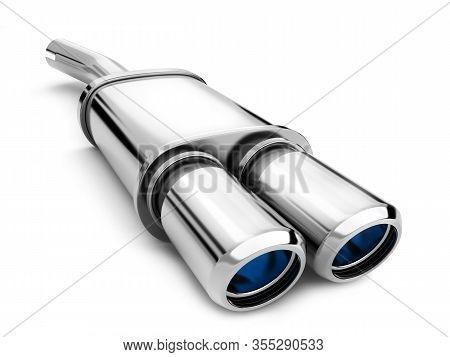 Exhaust Tube On White Background. 3d Illustration