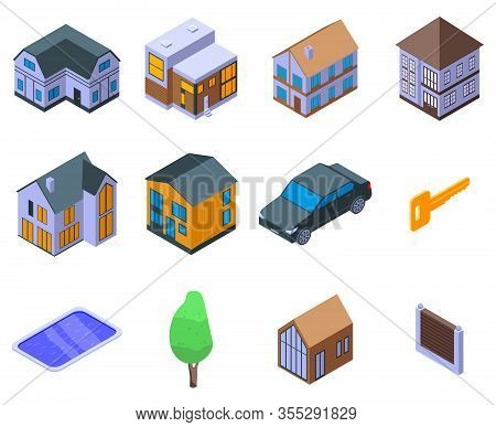 Cottage Icons Set. Isometric Set Of Cottage Vector Icons For Web Design Isolated On White Background