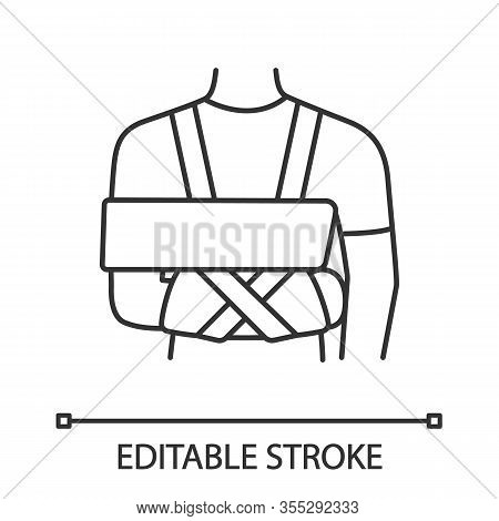 Shoulder Immobilizer Linear Icon. Sling And Swathe. Thin Line Illustration. Broken Arm, Shoulder Inj