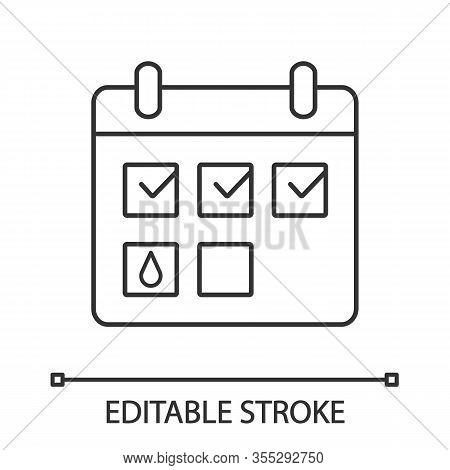 Menstrual Calendar Linear Icon. Thin Line Illustration. Thin Line Illustration. Period Tracker. Preg