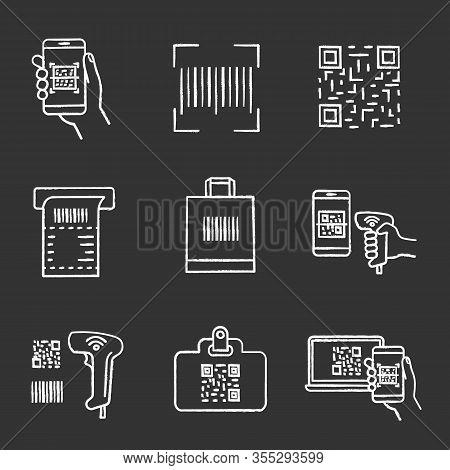 Barcodes Chalk Icons Set. Smartphone Barcode Scanning App, Linear Code, Qr Code, Atm Cash Receipt, S