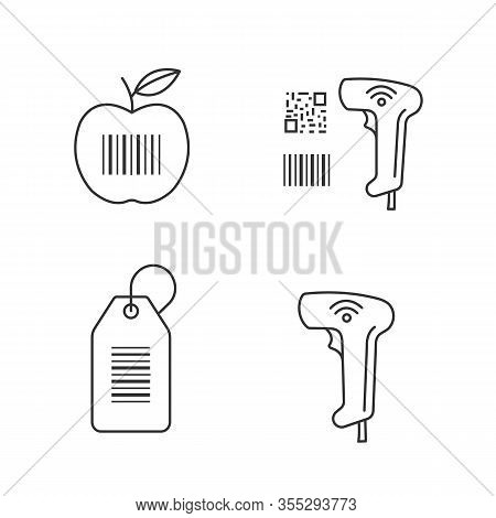 Barcodes Linear Icons Set. Product Barcode, Qr And Linear Codes Scanner, Hang Tag, Wireless Handheld
