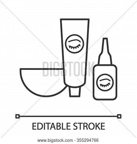 Eyebrows And Eyelash Dye Kit Linear Icon. Thin Line Illustration. Bowl, Tint And Oxidant Activator.