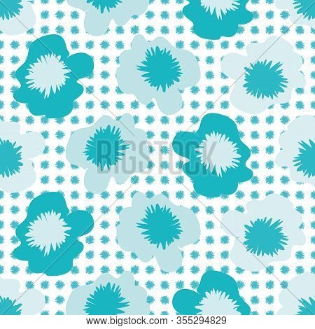 Tropical Flower Seamless Vector Pattern Background. Monochrome Blue Painterly Blooms. Modern Florals