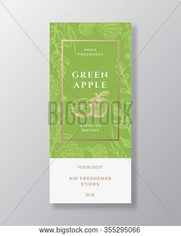 Apple Fruit Home Fragrance Abstract Vector Label Template. Hand Drawn Sketch Flowers, Leaves Backgro