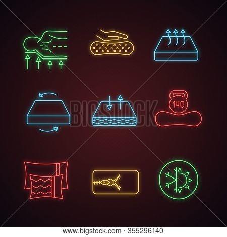 Mattress Neon Light Icons Set. Orthopedic, Latex, Breathable, Dual Season, Two-sided, Mattresses Wit