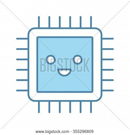 Smiling Processor Color Icon. Well Working Microprocessor. Chip, Microchip, Chipset In Good Quality.