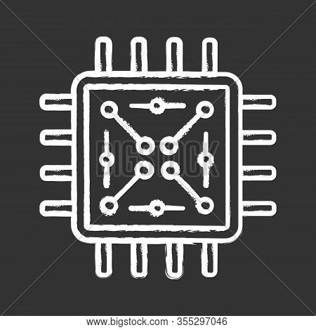 Processor With Electronic Circuits Chalk Icon. Microprocessor With Microcircuits. Chip, Microchip, C
