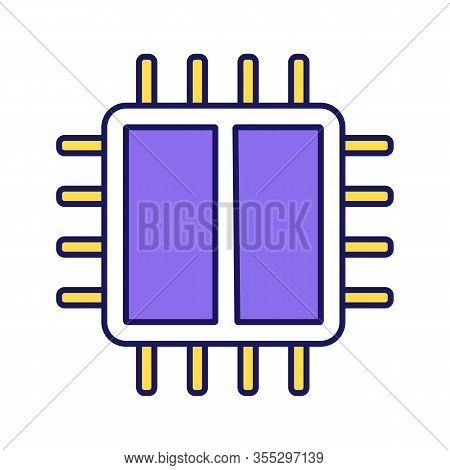 Dual Core Processor Color Icon. X2 Microprocessor. Microchip, Chipset. Cpu. Central Processing Unit.