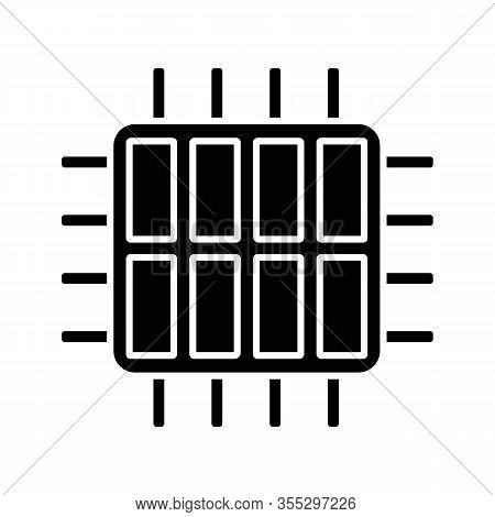 Octa Core Processor Glyph Icon. Silhouette Symbol. Eight Core Microprocessor. Microchip. Cpu. Comput
