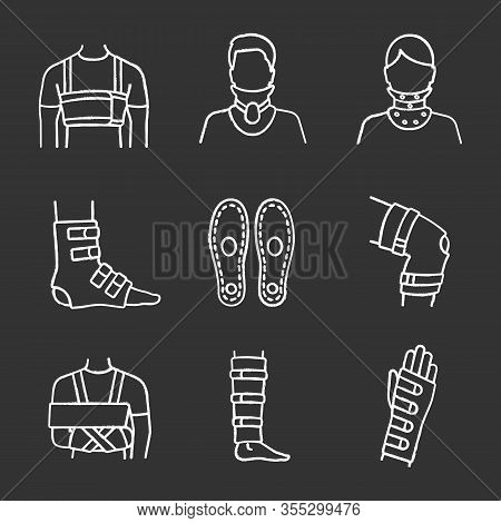 Trauma Treatment Chalk Icons Set. Rib Belt, Cervical Collar, Ankle And Knee Braces, Insoles, Shoulde