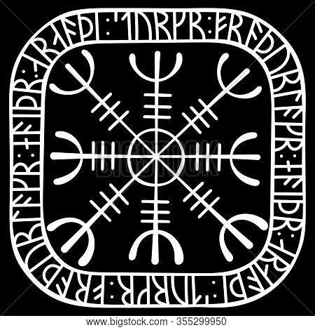 Helm Of Awe, Helm Of Terror, Icelandic Magical Staves With Scandinavian Runes, Aegishjalmur Vintage