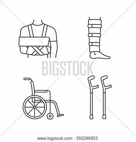 Trauma Treatment Linear Icons Set. Shoulder Immobilizer, Shin Brace, Wheelchair, Elbow Crutches. Thi