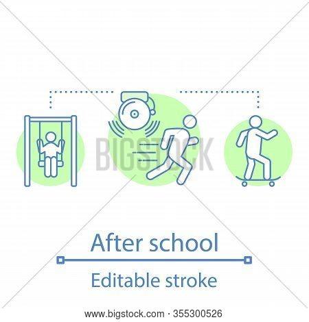 After School Activities Concept Icon. Kids Leisure Time. Children Entertainment. Childhood Idea Thin