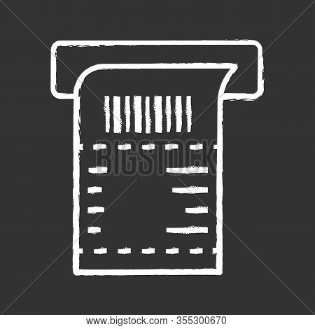 Atm Receipt Chalk Icon. Payment Terminal Paper Check. Bill. Sales Receipt. Isolated Vector Chalkboar