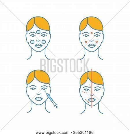Neurotoxin Injection Color Icons Set. Anesthetic Cream, Facial Markup, Crows Feets Injection, Facial