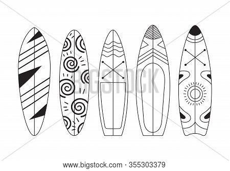 Set Of Five Doodle Surfs With Patterns. Rest On The Sea, Extreme, Hobbies And Adrenaline On The Wave