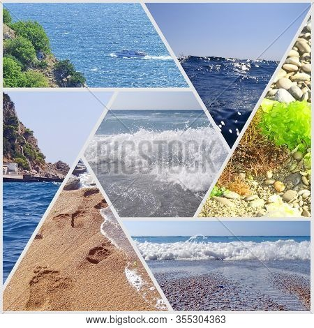 Photo Collage Of Summer Holidays At Sea. It Can Be Used To Design Covers, Brochures, Leaflets And Te