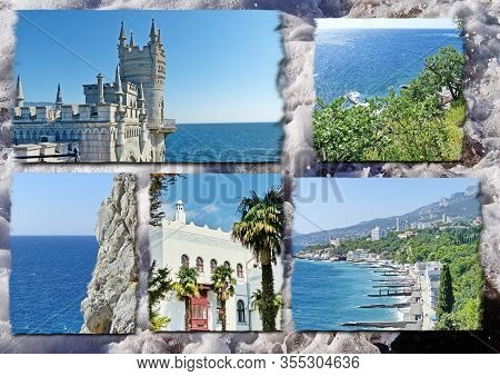 Photo Collage Travel South Coast Of Crimea. Can Be Used For The Design Of Covers, Brochures, Flyers