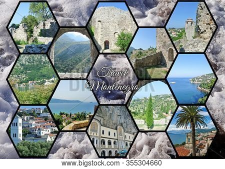 Photo Collage Travel Montenegro. Can Be Used For The Design Of Covers, Brochures, Flyers And Text Sp