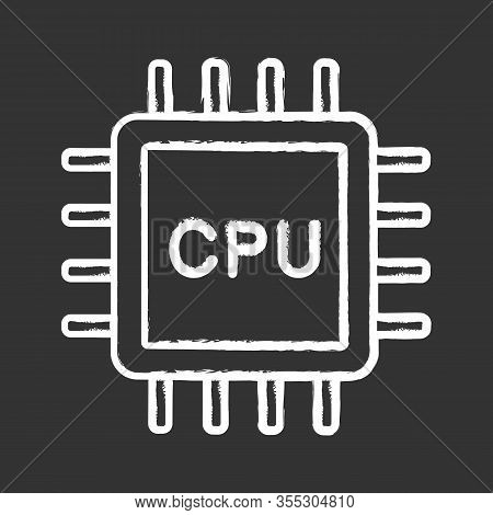 Cpu Chalk Icon. Electronic Microchip, Chipset, Chip. Central Processing Unit. Computer, Phone Proces
