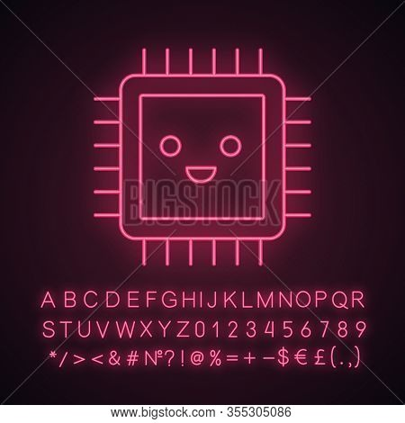 Smiling Processor Neon Light Icon. Well Working Microprocessor. Chip, Microchip, Chipset In Good Qua