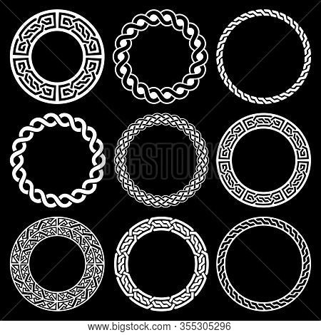 Retro Celtic White Borders Pattern Collection Isolated On Black, Traditional Ornament In Circle From