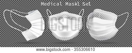Set Of Medical Masks - Template. From Different Angles To Protect Coronavirus, Infection And Contami