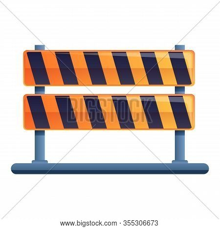 Road Repair Barrier Icon. Cartoon Of Road Repair Barrier Vector Icon For Web Design Isolated On Whit