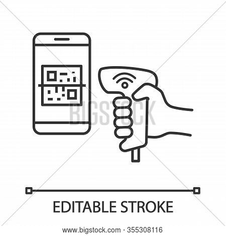 Payment Qr With Code Scanner Scanning Phone Screen Linear Icon. Wifi 2d Barcode Reader. Line Illustr