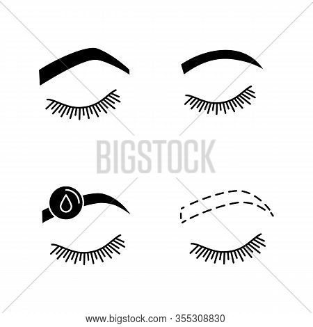 Eyebrows Shaping Glyph Icons Set. Steep Arched And Rounded Eyebrows, Makeup Removal, Brows Contourin