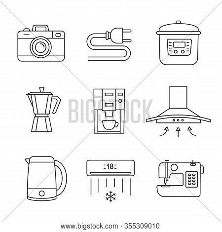 Appliance Linear Icons Set. Photo Camera, Wire Plug, Multi Cooker, Coffee Maker, Range Hood, Kettle,