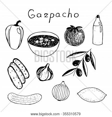 Set Of Spanish Traditional Soup Gazpacho , Lettering In Spanish, And Ingredients : Bread, Garlic, Ol