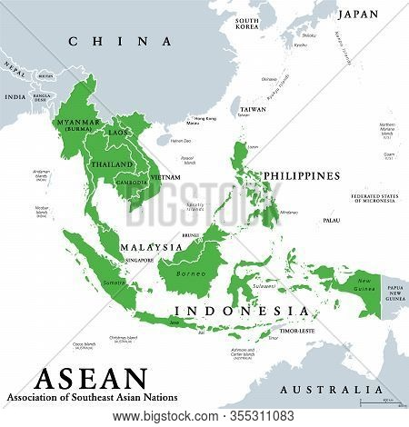 Asean Member States, Political Map. Association Of Southeast Asian Nations, A Regional Intergovernme