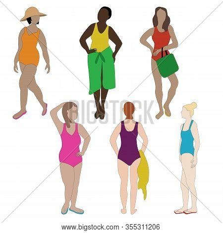 Vector Women Wearing Bright Swim Suits Icon Set On White Background. Clip Art For Embellishing Cards