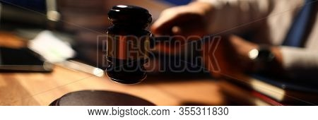 Focus On Man In Trendy Tie Wearing White Shirt. Judge Utility Used To Maintain Order And Pronounce A