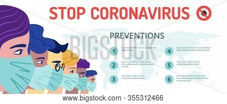 A Group Of People Wearing A Protective Medical Mask To Prevent Coronavirus. Concept Of Coronavirus Q