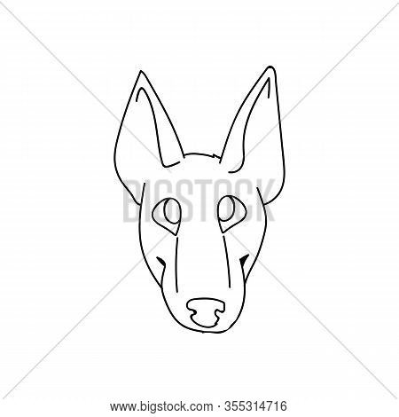 Cute Cartoon Bull Terrier Puppy Monochrome Lineart Face Vector Clipart. Pedigree Kennel Show Dog For