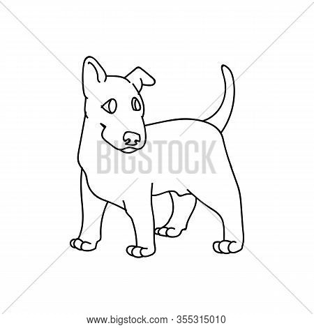 Cute Cartoon Bull Terrier Puppy Breed Monochrome Lineart Vector Clipart. Pedigree Kennel Show Dog Fo