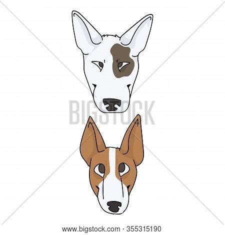 Cute Cartoon Bull Terrier Dog And Puppy Breed Face Vector Clipart. Pedigree Kennel Show Dog For Dog