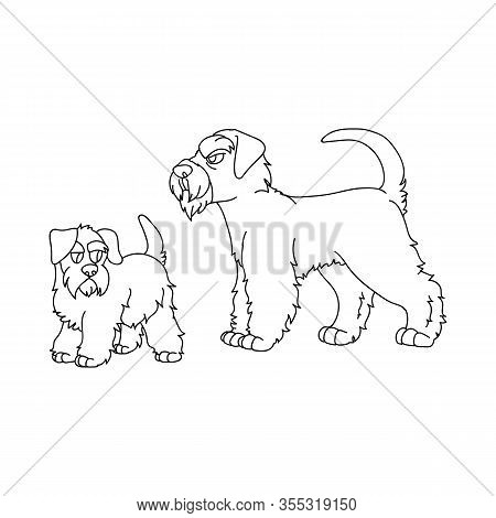 Cute Cartoon Monochrome Schnauzer Dog And Puppy Lineart Vector Clipart. Pedigree- Doggie Breed For D