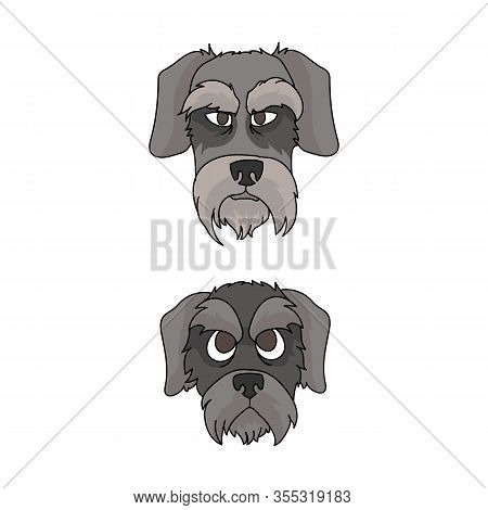 Cute Cartoon Schnauzer Dog And Puppy Face Vector Clipart. Pedigree Kennel Doggie For Dog Lovers. Pur