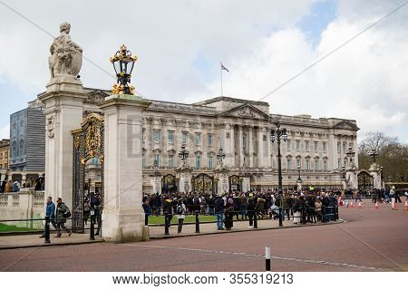 London, United Kingdom, March 8th 2020:- A View Of Buckingham Palace The London Home Of The British