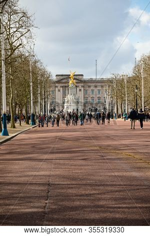 London, United Kingdom, March 8th 2020:- Buckingham Palace As Viewed From The Mall