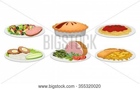 Meat Dishes And Courses Served On Plates With Meat Loaf And Pasta Vector Set