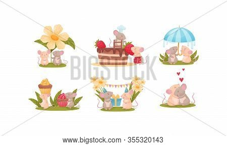Cartoon Mice Characters Decorating Cake And Embracing Each Other Vector Set